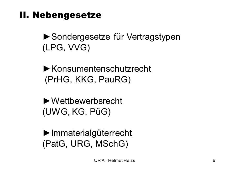 ►Sondergesetze für Vertragstypen (LPG, VVG)