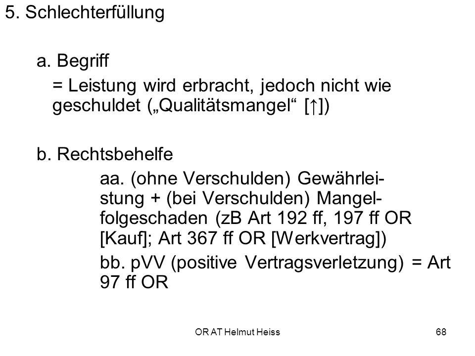 bb. pVV (positive Vertragsverletzung) = Art 97 ff OR