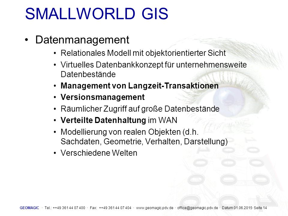 SMALLWORLD GIS Datenmanagement