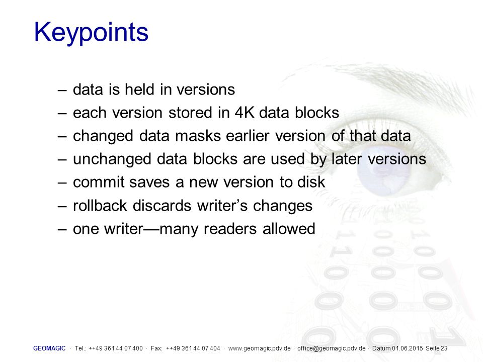 Keypoints data is held in versions