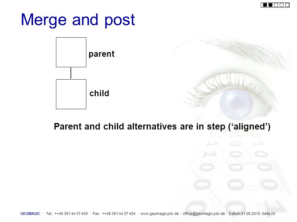 Merge and post Parent and child alternatives are in step ('aligned')