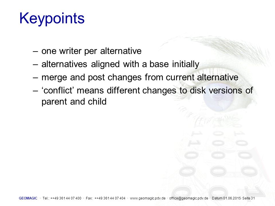 Keypoints one writer per alternative