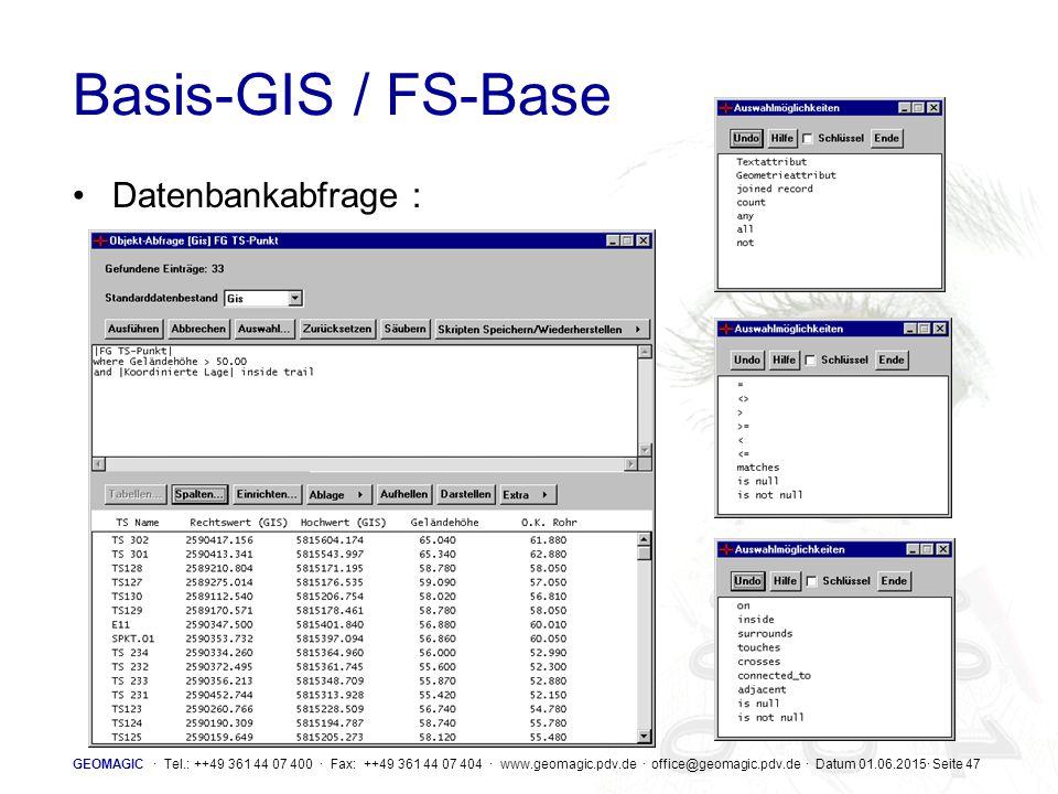 Basis-GIS / FS-Base Datenbankabfrage :