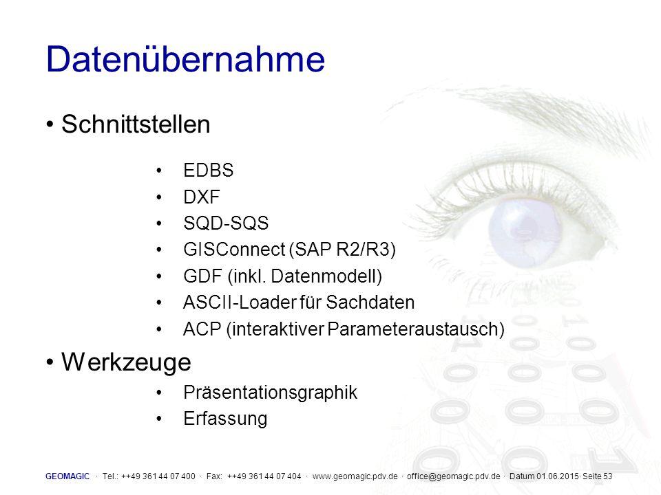 Datenübernahme Schnittstellen Werkzeuge EDBS DXF SQD-SQS