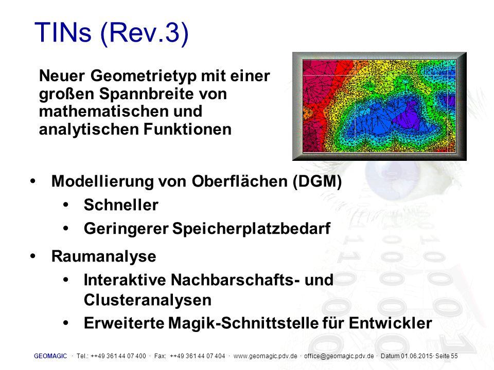 TINs (Rev.3) Neuer Geometrietyp mit einer großen Spannbreite von mathematischen und analytischen Funktionen.