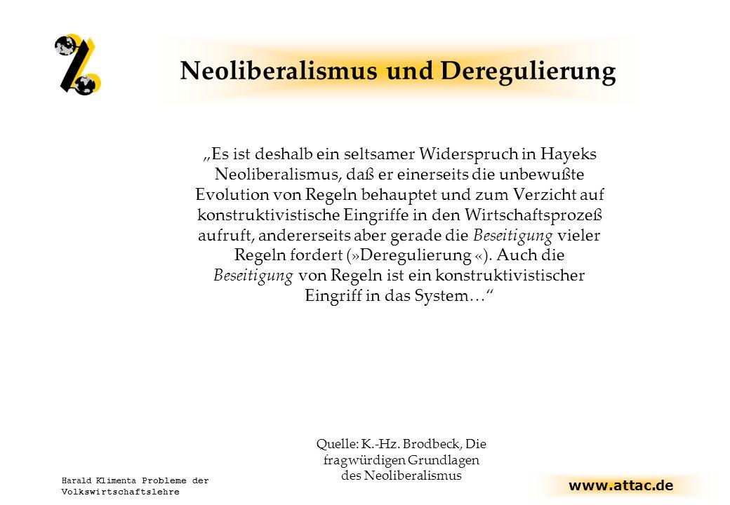 Neoliberalismus und Deregulierung