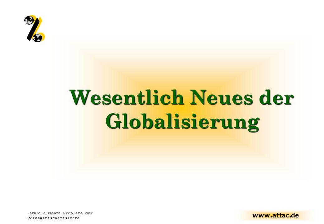 Wesentlich Neues der Globalisierung