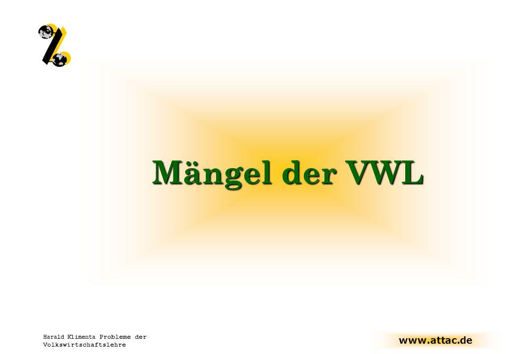 Mängel der VWL Harald Klimenta Probleme der Volkswirtschaftslehre