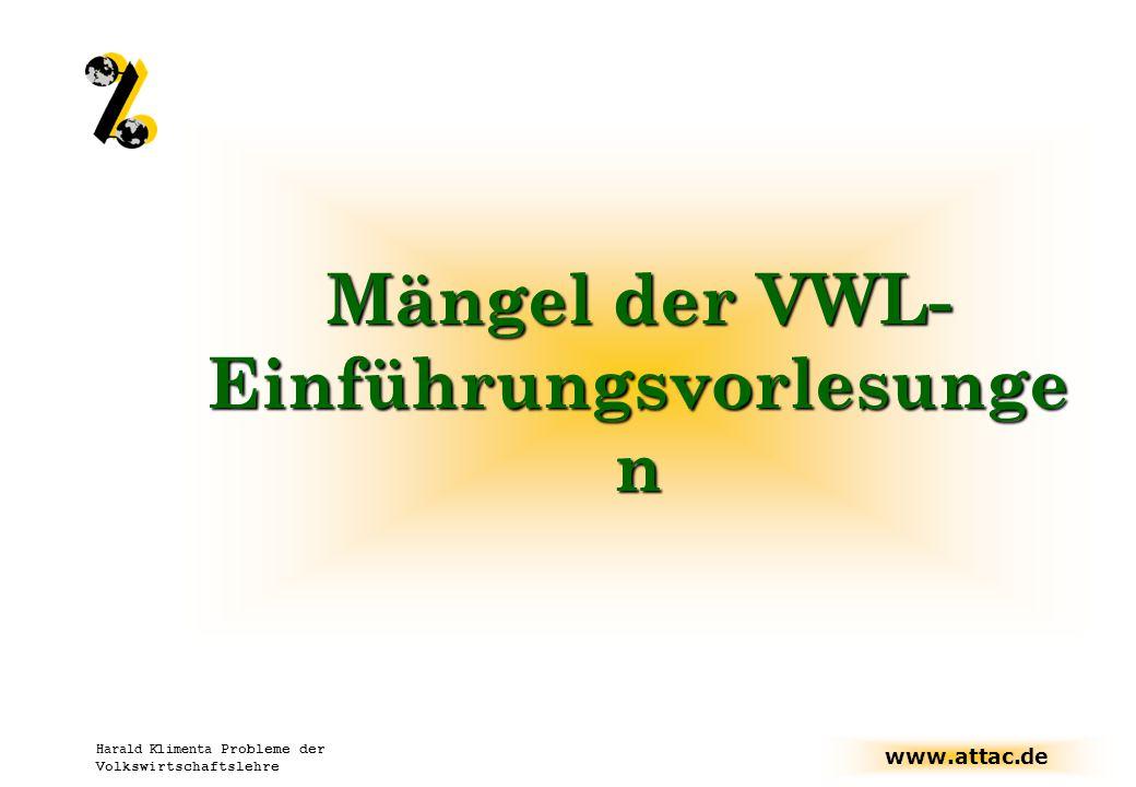 Mängel der VWL-Einführungsvorlesungen