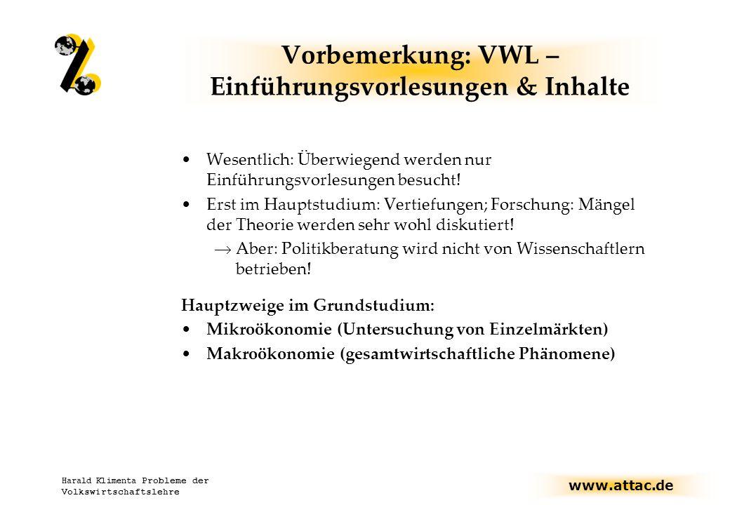 Vorbemerkung: VWL – Einführungsvorlesungen & Inhalte