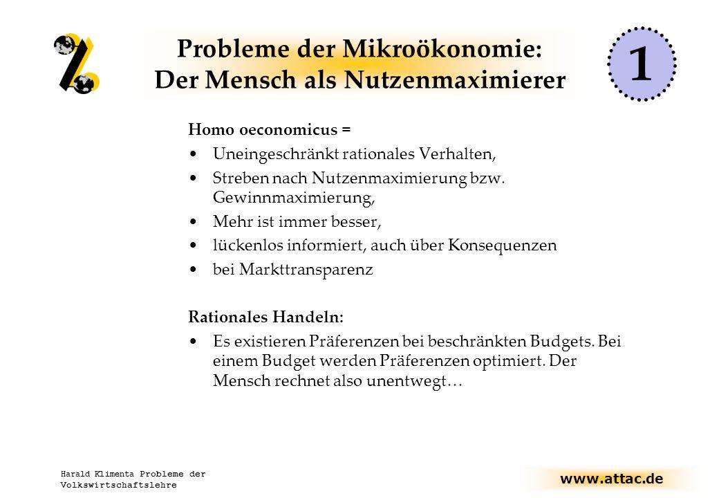 Probleme der Mikroökonomie: Der Mensch als Nutzenmaximierer