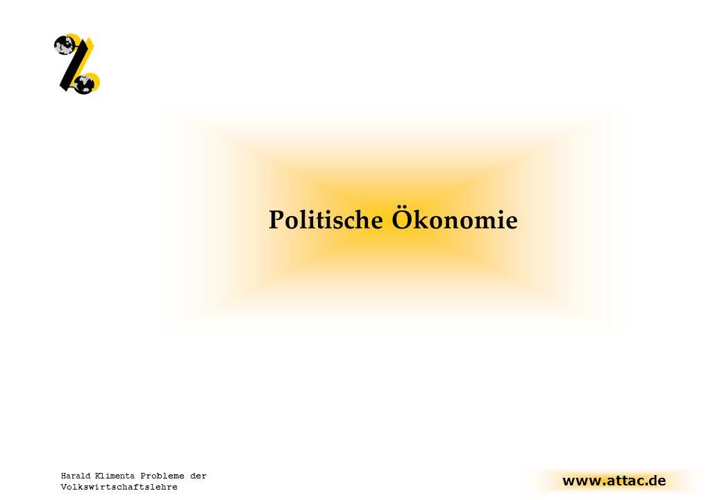 Politische Ökonomie Harald Klimenta Probleme der Volkswirtschaftslehre