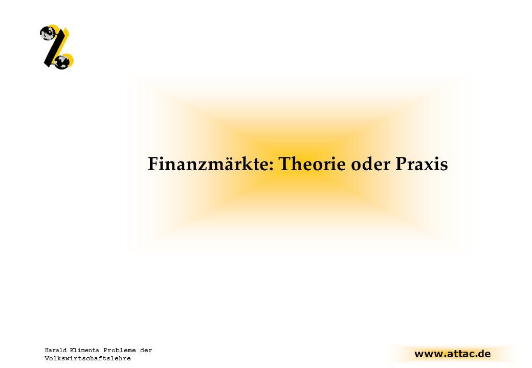 Finanzmärkte: Theorie oder Praxis