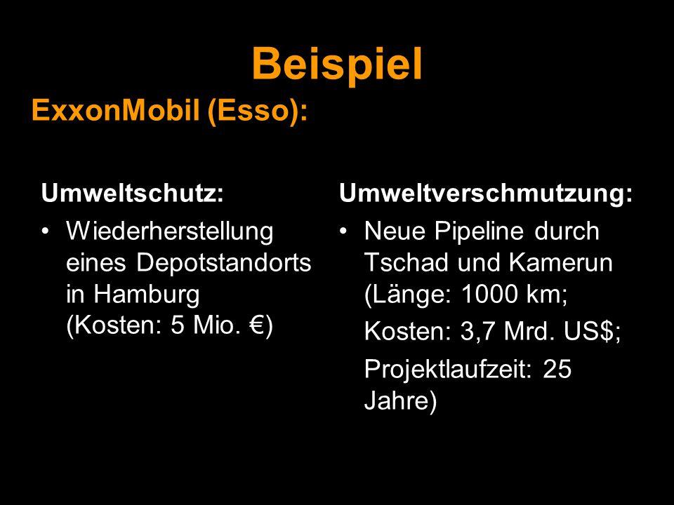 Beispiel ExxonMobil (Esso): Umweltschutz: