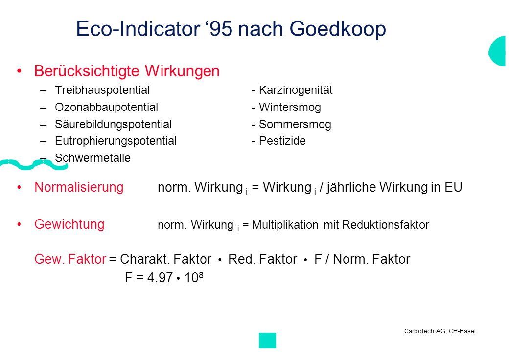 Eco-Indicator '95 nach Goedkoop