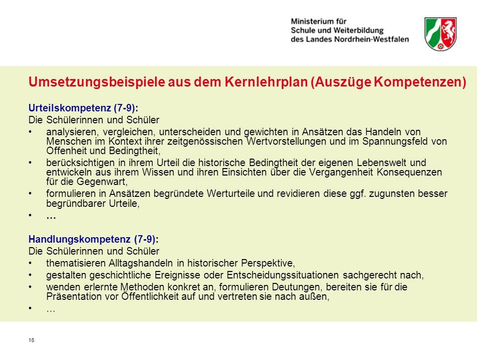 Umsetzungsbeispiele aus dem Kernlehrplan (Auszüge Kompetenzen)