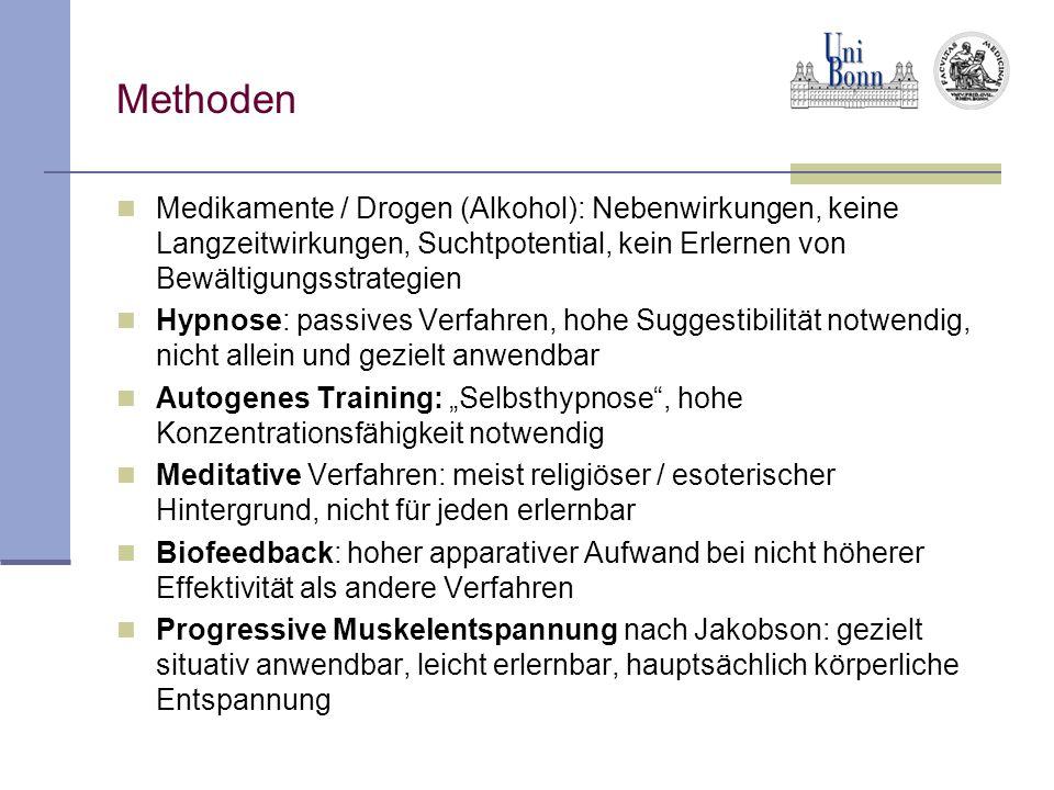 Methoden Medikamente / Drogen (Alkohol): Nebenwirkungen, keine Langzeitwirkungen, Suchtpotential, kein Erlernen von Bewältigungsstrategien.