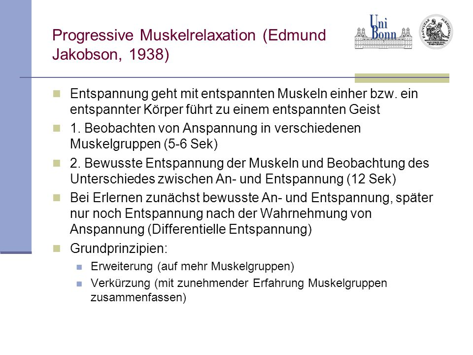 Progressive Muskelrelaxation (Edmund Jakobson, 1938)