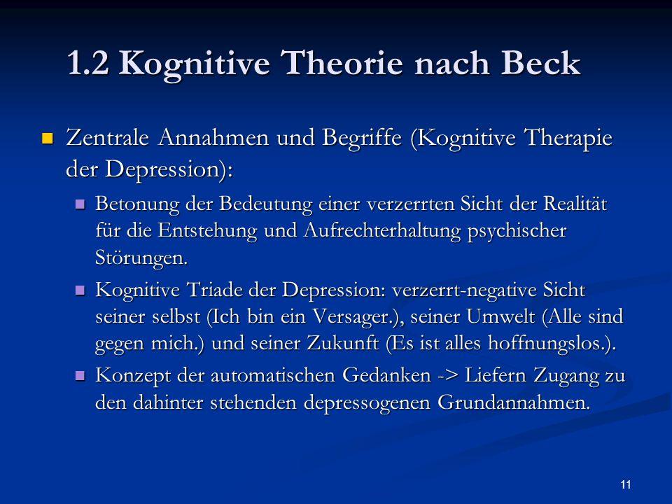 1.2 Kognitive Theorie nach Beck