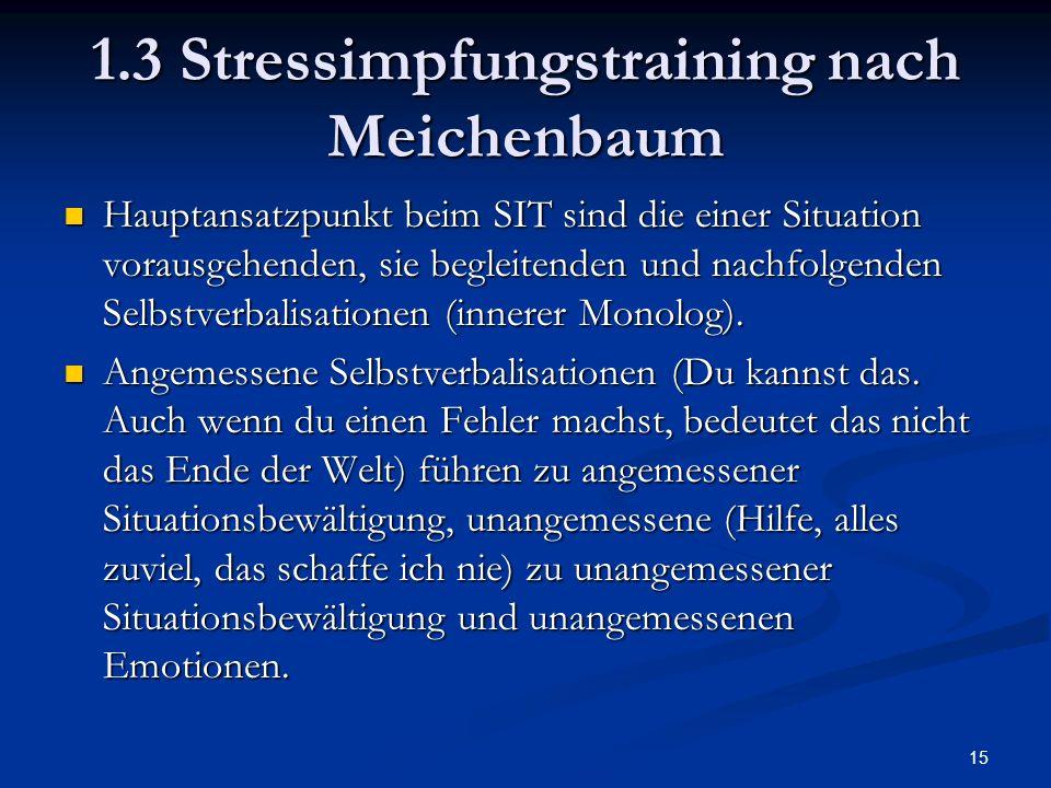 1.3 Stressimpfungstraining nach Meichenbaum