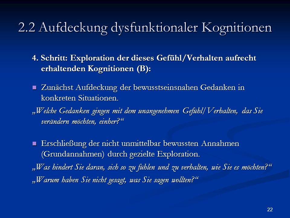 2.2 Aufdeckung dysfunktionaler Kognitionen