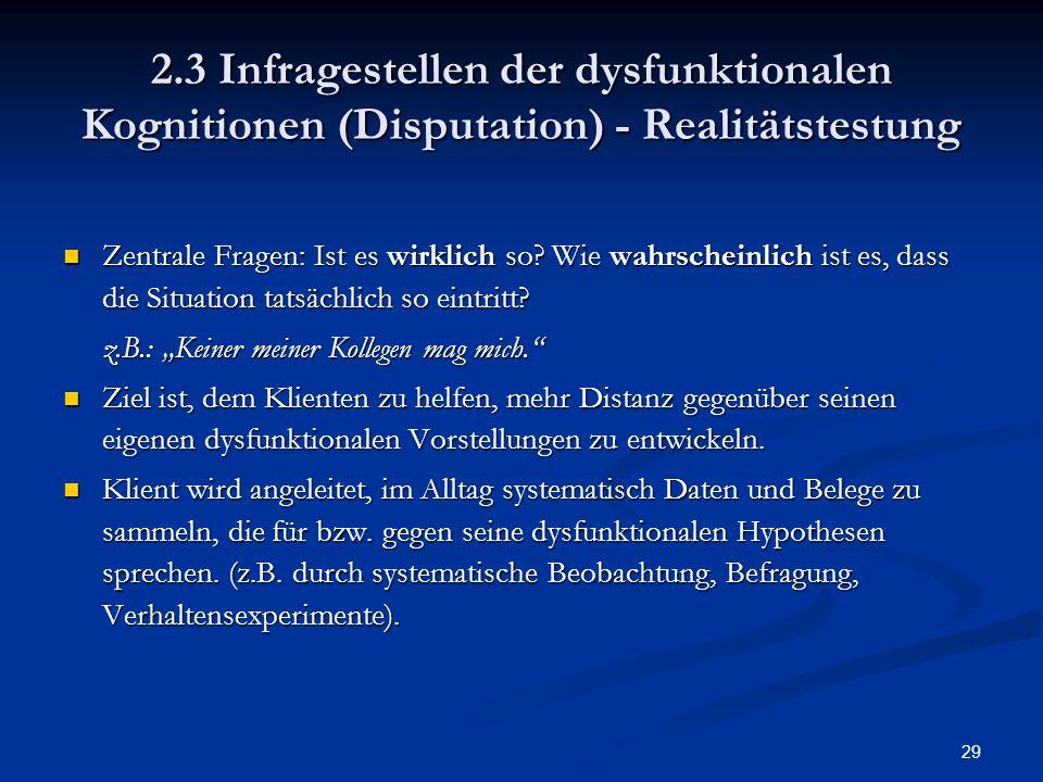 2.3 Infragestellen der dysfunktionalen Kognitionen (Disputation) - Realitätstestung