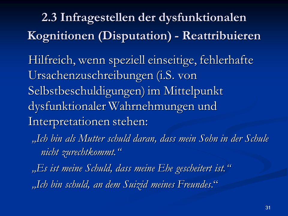 2.3 Infragestellen der dysfunktionalen Kognitionen (Disputation) - Reattribuieren