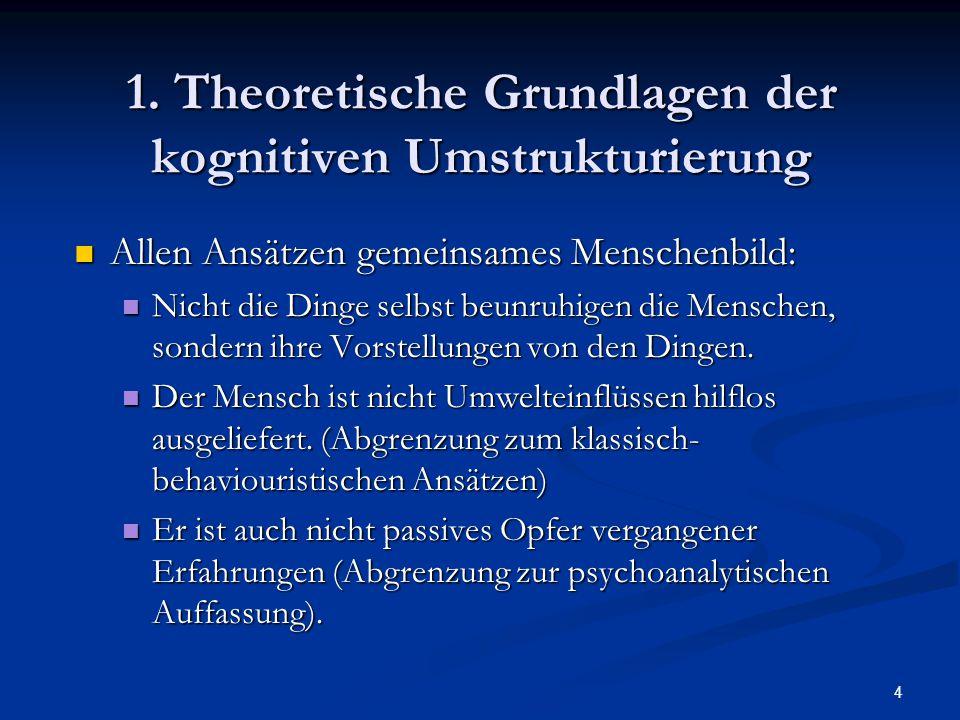 1. Theoretische Grundlagen der kognitiven Umstrukturierung