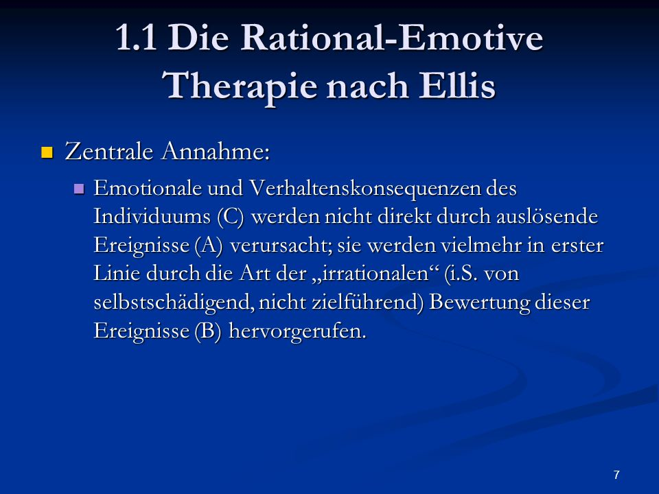 1.1 Die Rational-Emotive Therapie nach Ellis