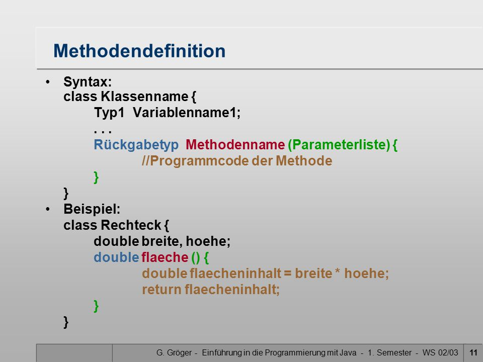 Methodendefinition Syntax: class Klassenname { Typ1 Variablenname1;