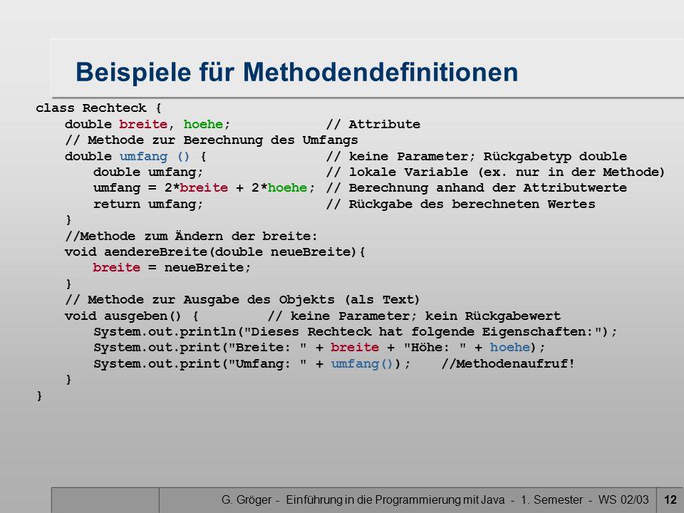 Beispiele für Methodendefinitionen