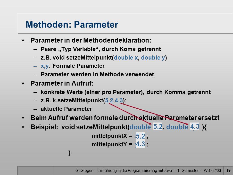 Methoden: Parameter Parameter in der Methodendeklaration: