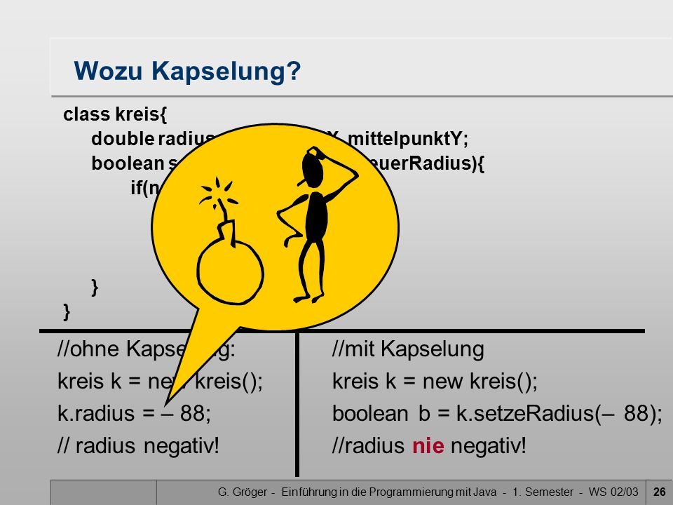 Wozu Kapselung //ohne Kapselung: kreis k = new kreis();