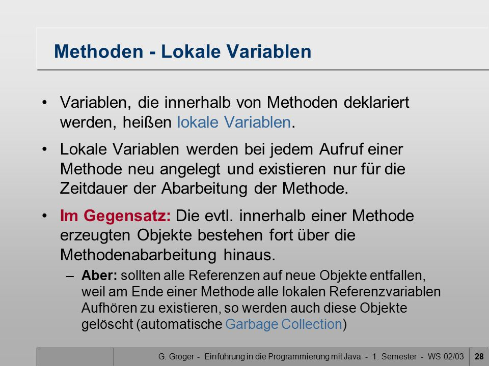 Methoden - Lokale Variablen