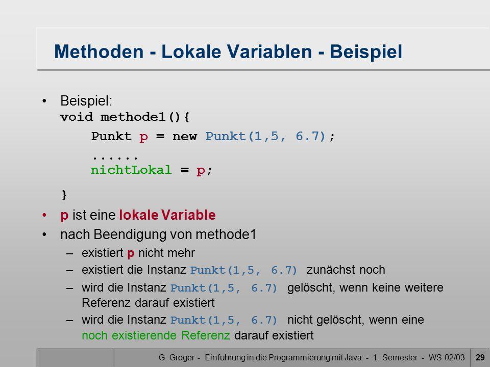 Methoden - Lokale Variablen - Beispiel