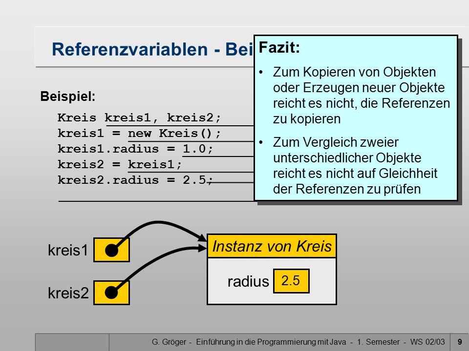 Referenzvariablen - Beispiel