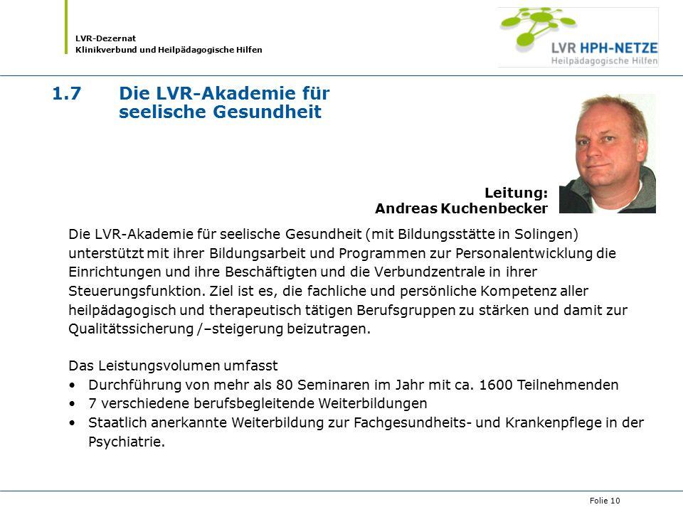 1.7 Die LVR-Akademie für seelische Gesundheit