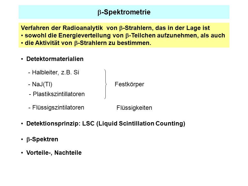 b-Spektrometrie Verfahren der Radioanalytik von b-Strahlern, das in der Lage ist. sowohl die Energieverteilung von b-Teilchen aufzunehmen, als auch.