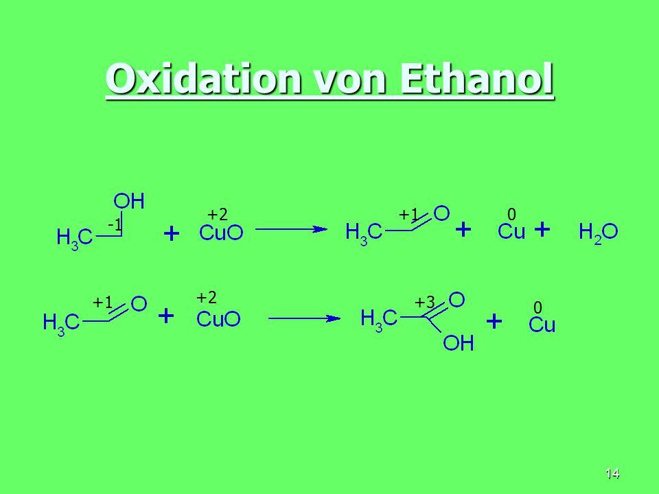 Oxidation von Ethanol +2 +1 -1 +2 +1 +3