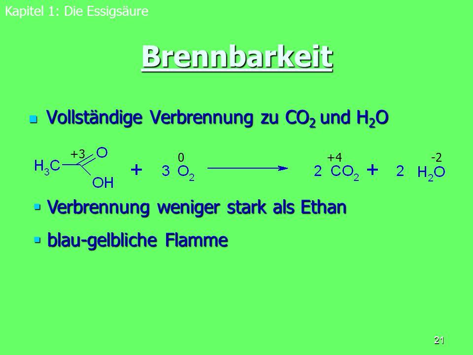 Brennbarkeit Vollständige Verbrennung zu CO2 und H2O