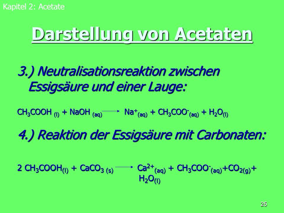 Darstellung von Acetaten