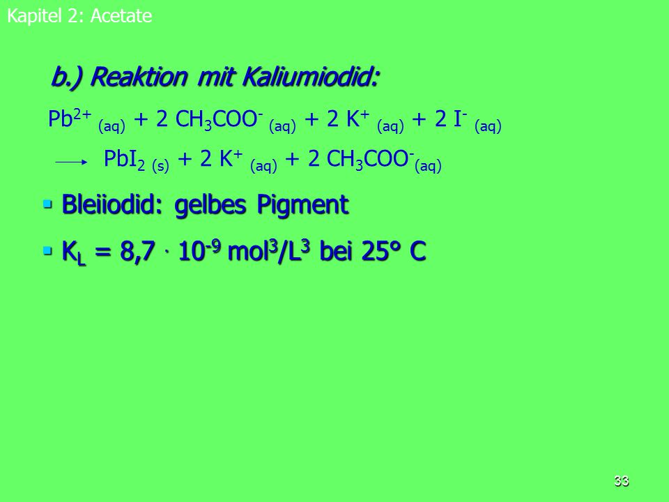 b.) Reaktion mit Kaliumiodid:
