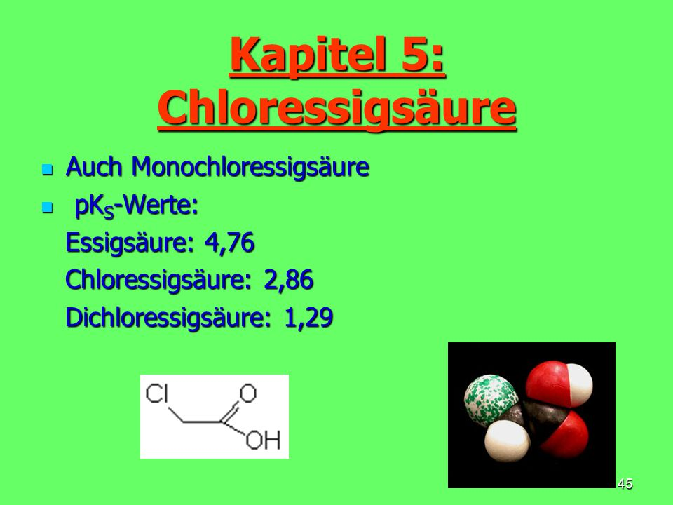 Kapitel 5: Chloressigsäure