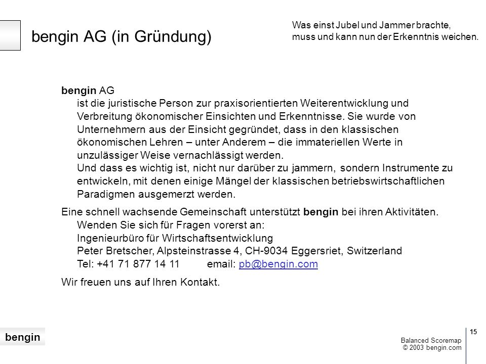bengin AG (in Gründung)