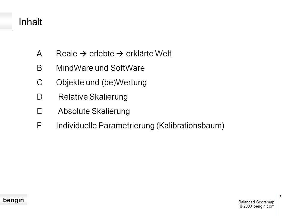 Inhalt A Reale  erlebte  erklärte Welt B MindWare und SoftWare
