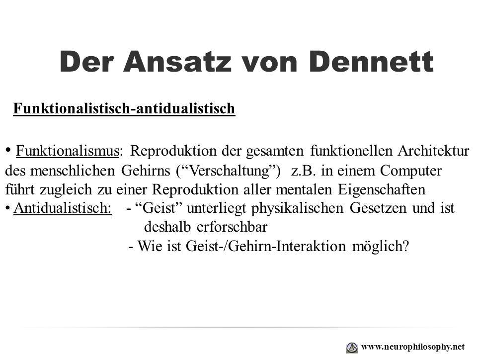 Der Ansatz von Dennett Funktionalistisch-antidualistisch. Funktionalismus: Reproduktion der gesamten funktionellen Architektur.