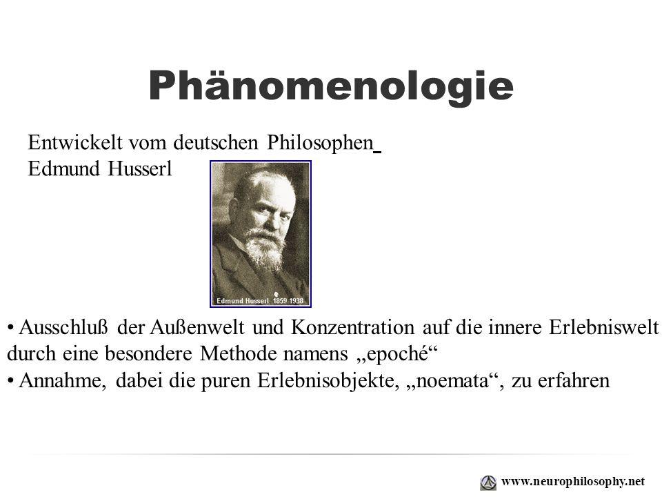 Phänomenologie Entwickelt vom deutschen Philosophen Edmund Husserl
