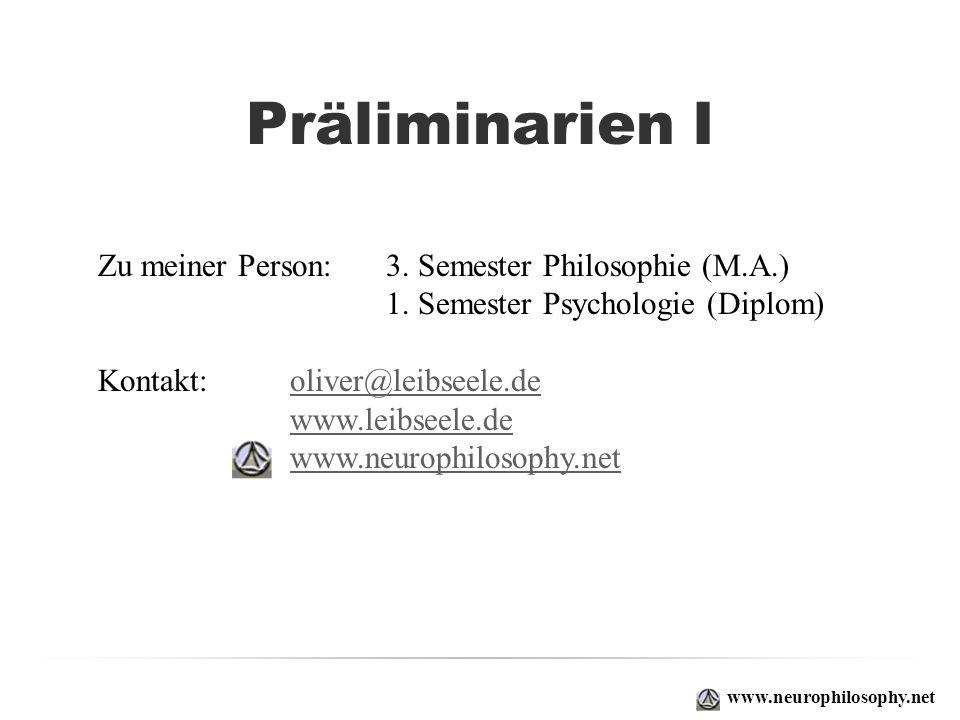 Präliminarien I Zu meiner Person: 3. Semester Philosophie (M.A.)