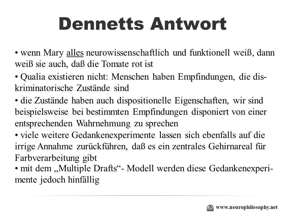 Dennetts Antwortwenn Mary alles neurowissenschaftlich und funktionell weiß, dann. weiß sie auch, daß die Tomate rot ist.