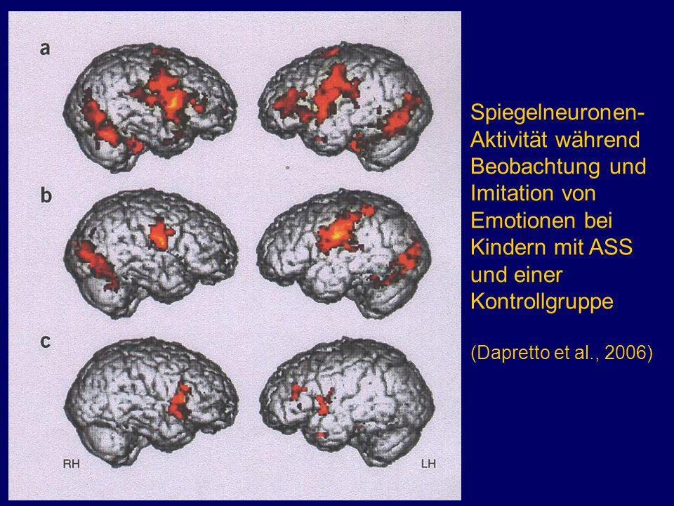 Spiegelneuronen-Aktivität während Beobachtung und Imitation von Emotionen bei Kindern mit ASS und einer Kontrollgruppe (Dapretto et al., 2006)
